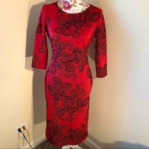 New York &Co Stretch Paisley Body Con Dress Size S